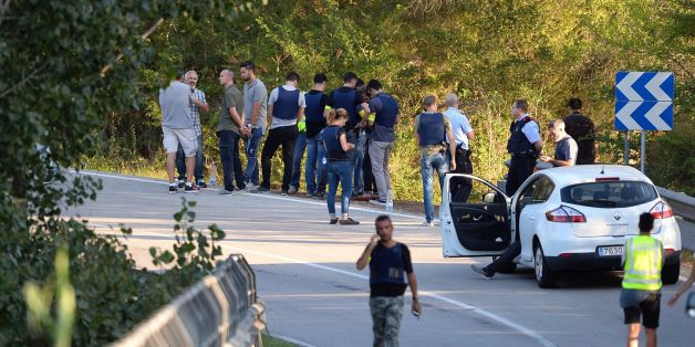 Spanish policemen gather at the site where Moroccan suspect Younes Abouyaaqoub was shot on August 21, 2017 near Sant Sadurni d'Anoia, south of Barcelona, four days after the Barcelona and Cambrils attacks that killed 15 people.Spanish police said on August 21, 2017 that they have identified the driver of the van that mowed down pedestrians on the busy Las Ramblas boulevard in Barcelona, killing 13.The 22-year-old Moroccan Younes Abouyaaqoub is believed to be the last remaining member of a 12-man