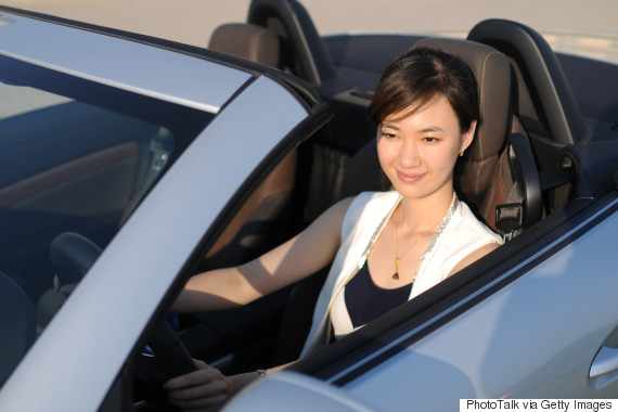 woman sportscar