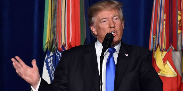 US President Donald Trump speaks during his address to the nation from Joint Base Myer-Henderson Hall in Arlington, Virginia, on August 21, 2017.Trump Monday left the door open to a possible political agreement with the Taliban, in an address to the nation on America's strategy in the 16-year Afghan conflict. 'Some day, after an effective military effort, perhaps it will be possible to have a political sentiment that includes elements of the Taliban in Afghanistan,' he said. / AFP PHOTO / Nichol