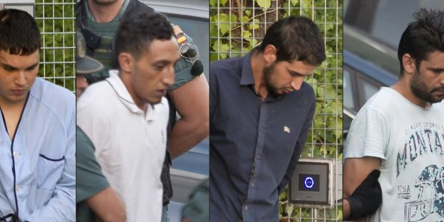 (COMBO) This combination of pictures created on August 22, 2017 shows (from L)Mohamed Houli Chemlal, Driss Oukabir, Salah El Karib, and Mohamed Aallaa, suspected of involvement in the terror cell that carried out twin attacks in Barcelona and Cambrils, escorded by Spanish Civil Guards from a detention center in Tres Cantos, near Madrid, on August 22, 2017 before being tranferred to the National Court.Under heavy security, police vans entered the National Court, which deals with terrorism cases,