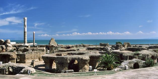 Tunisia. Ancient Carthage. General view of Antonine Baths - ruined caldarium (the hottest room) and steamroom on first plan. Please see my other images of the Roman places in Carthage and the Roman sites in Tunisia, Libya, Algeria, Jordan and Syria