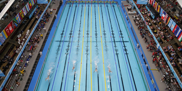 INDIANAPOLIS, IN - AUGUST 25:  A general view of the pool during day 3 of the 6th FINA World Junior Swimming Championships at Indiana University Natatorium on August 25, 2017 in Indianapolis, Indiana.  (Photo by Streeter Lecka/Getty Images)