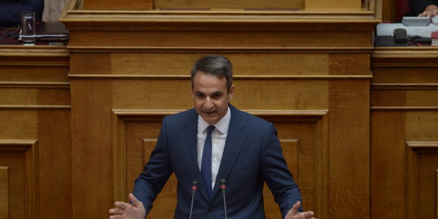 HELLENIC PARLIAMENT, ATHENS, ATTIKI, GREECE - 2017/08/01: Kyriakos Mitsotakis leader of the main opposition and President of New Democracy party, during his speech in Hellenic Parliament. (Photo by Dimitrios Karvountzis/Pacific Press/LightRocket via Getty Images)