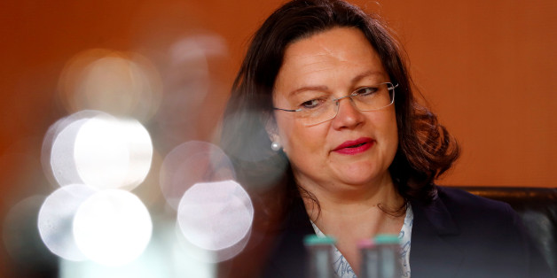 German Labour Minister Andrea Nahles attends a cabinet meeting in Berlin, Germany, May 24, 2017.    REUTERS/Fabrizio Bensch