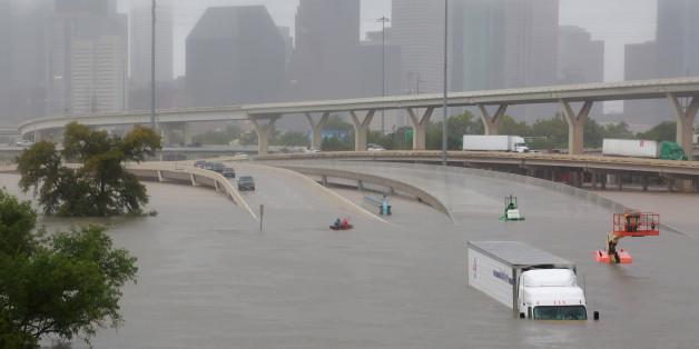 Les inondations à Houston, Texas, après l'ouragan Harvey, le 27 août 2017