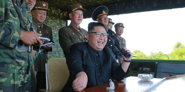 This undated photo released by North Korea's official Korean Central News Agency (KCNA) on August 26, 2017 shows North Korean leader Kim Jong-Un (C) presiding over a target strike exercise conducted by the special operation forces of the Korean People's Army (KPA) at an undisclosed location.North Korea fired three short-range ballistic missiles on August 26, the US military said, following weeks of heightened tensions between Washington and Pyongyang. / AFP PHOTO / KCNA via KNS / STR / South Kor