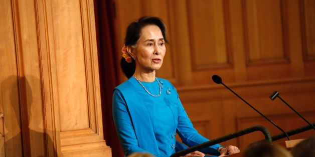 Myanmar's State Counsellor Aung San Suu Kyi delivers a speech at the Swedish parliament on June 13, 2017.  / AFP PHOTO / TT News Agency / Christine Olsson / Sweden OUT        (Photo credit should read CHRISTINE OLSSON/AFP/Getty Images)