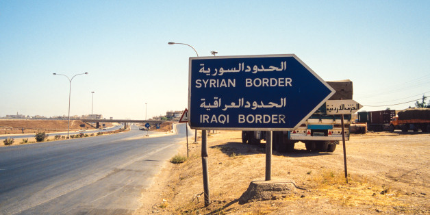 The signpost to the border crossing in Eastern Jordan.