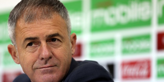 Spanish coach Lucas Alcaraz attends a press conference on April 19, 2017, upon being announced as the new head coach for the Algerian national team. Alcaraz had previously coached Spanish sides Granada, Levante and Recreativo de Huelva. (Photo by Billal Bensalem/NurPhoto via Getty Images)