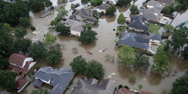 HOUSTON, TX - AUGUST 30:  Flooded homes are shown near Lake Houston following Hurricane Harvey August 29, 2017 in Houston, Texas. The city of Houston is still experiencing severe flooding in some areas due to the accumulation of historic levels of rainfall, though the storm has moved to the north and east.  (Photo by Win McNamee/Getty Images)