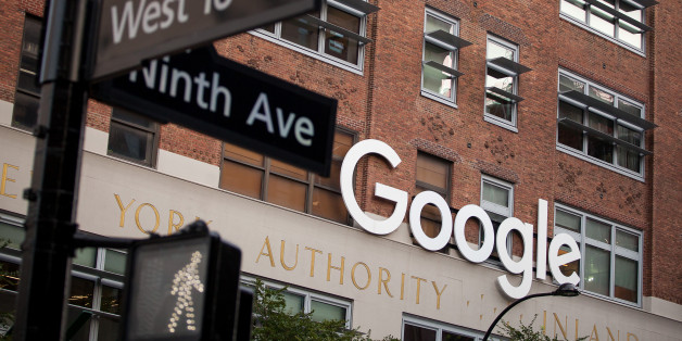 Signage is displayed at the Google Inc. offices in New York, U.S., on Tuesday, Aug. 22, 2016. Wal-Mart Stores Inc. is teaming up with Google to let shoppers order by voice, the latest example of the world's largest retailer finding a technology partner to catch e-commerce leader Amazon.com Inc. Photographer: Michael Nagle/Bloomberg via Getty Images