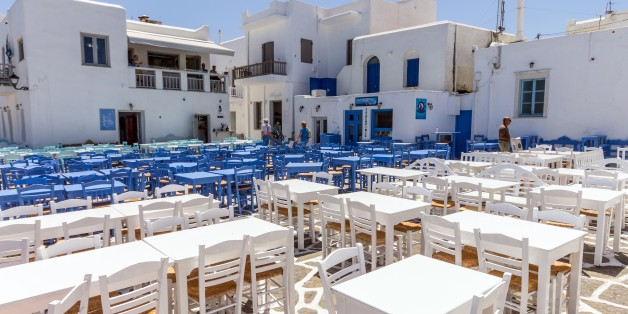 Greece. Cyclades. Paros Island. Naoussa. Empty Restaurant. (Photo by: Valletta Vittorio/AGF/UIG via Getty Images)