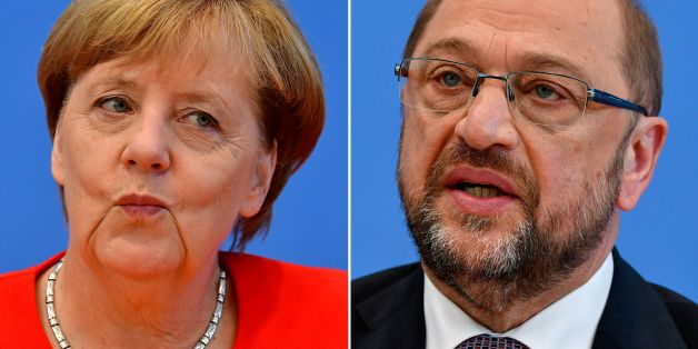 (COMBO) This combination created on September 1, 2017 of file pictures shows German Chancellor Angela Merkel, also leader of the conservative Christian Democratic Union (CDU) party (L, on August 29, 2017 in Berlin) and Martin Schulz, leader of Germany's social democratic SPD party and candidate for Chancellor (on June 27, 2017 in Berlin).Angela Merkel, Germany's cool and collected chancellor, will go head-to-head Sunday, September 3, 2017, with her fiery challenger Martin Schulz in their only te
