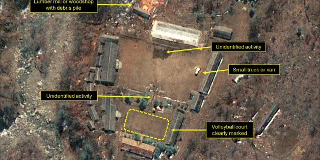 PUNGGYE-RI NUCLEAR TEST SITE, NORTH KOREA - APRIL 19, 2017.  Figure 2. Several unidentified objects and activities observed at the Main Administrative Area. (Photo DigitalGlobe/38 North via Getty Images)