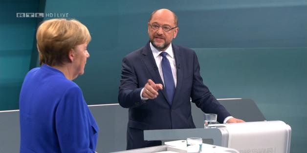 Martin Schulz im TV Duell mit Angela Merkel.