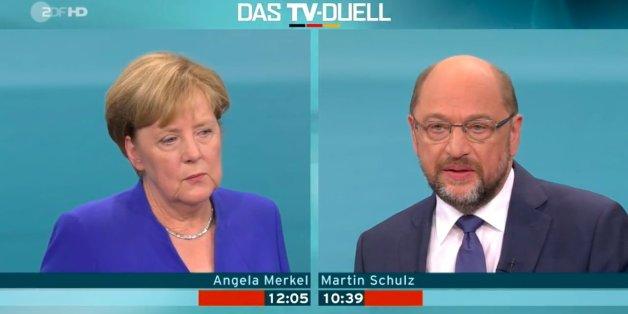 Das Standbild zeigt: Sowohl Angela Merkel als auch Martin Schulz gaben sich zahm