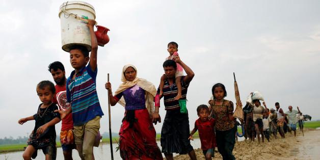 Des réfugiés Rohingya à la frontière entre la Birmanie et le Bangladesh, le 3 septembre 2017