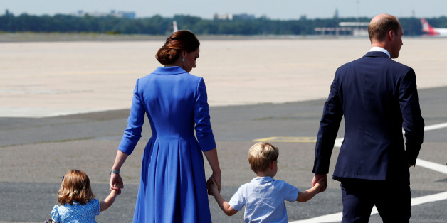 Prince William, the Duke of Cambridge, his wife Catherine, The Duchess of Cambridge, Prince George and Princess Charlotte arrive at Tegel airport in Berlin, Germany, July 19, 2017. REUTERS/Fabrizio Bensch