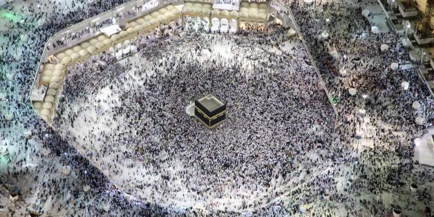 TOPSHOT - An aerial view shows Muslim pilgrims circumambulating the Kaaba, Islam's holiest shrine, at the Grand Mosque in Saudi Arabia's holy city of Mecca on September 3, 2017, during the annual Hajj pilgrimage. / AFP PHOTO / BANDAR ALDANDANI        (Photo credit should read BANDAR ALDANDANI/AFP/Getty Images)