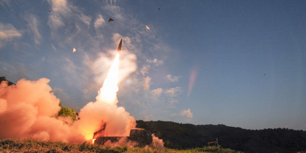 """In this photo provided by South Korea Defense Ministry, South Korea's Hyunmoo II ballistic missile is fired during an exercise at an undisclosed location in South Korea, Monday, Sept. 4, 2017. In South Korea, the nation's military said it conducted a live-fire exercise simulating an attack on North Korea's nuclear test site to """"strongly warn"""" Pyongyang over the latest nuclear test. Seoul's Joint Chiefs of Staff said the drill involved F-15 fighter jets and the country's land-based &quo"""