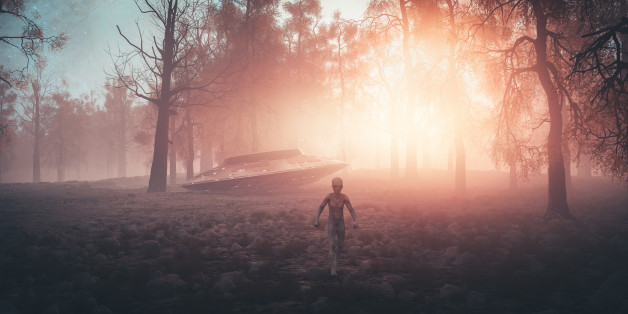 Crash landed UFO with alien walking in the forest.