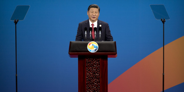 BEIJING, CHINA - MAY 14: Chinese President Xi Jinping speaks during the opening ceremony of the Belt and Road Forum at the China National Convention Center (CNCC) in Beijing, Sunday, May 14, 2017. The Belt and Road Forum focuses on the One Belt, One Road (OBOR) trade initiative. (Photo by Mark Schiefelbein-Pool/Getty Images)
