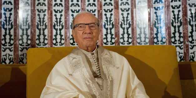 TUNIS, TUNISIA - JUNE 25: Tunisian President, Beji Caid Essebsi attends the Eid al-Fitr prayer at Malik ibn Anas Mosque in Tunis, Tunisia on June 25, 2017. Eid al-Fitr is a religious holiday celebrated by Muslims around the world that marks the end of Ramadan, Islamic holy month of fasting.