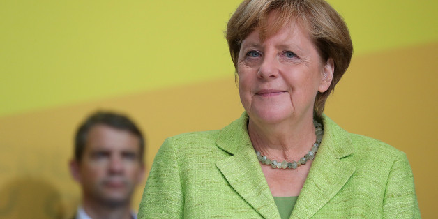 Angela Merkel, Germany's chancellor and Christian Democratic Union (CDU) leader, stands on stage after speaking during an election campaign rally in Torgau, Germany, on Wednesday, Sept. 6, 2017. Merkel, who projects herself as a force for stability in a world buffeted by turmoil, has maintained a dominant lead in the polls over Social Democratic challenger Martin Schulz. Photographer: Krisztian Bocsi/Bloomberg via Getty Images