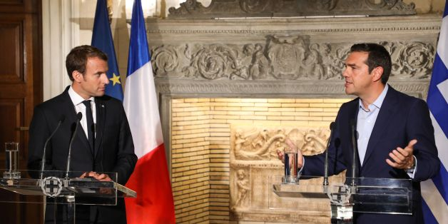 Greek Prime Minister Alexis Tsipras (2ndR) and French president Emmanuel Macron hold a joint press conference following their meeting in Athens on September 7, 2017, as part of a two-day official visit of the French president to Greece.  / AFP PHOTO / ludovic MARIN        (Photo credit should read LUDOVIC MARIN/AFP/Getty Images)