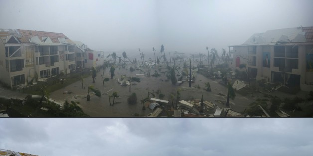 TOPSHOT - (COMBO) This combination of pictures created on September 7, 2017 shows panoramic photos taken on September 6, 2017 of the Hotel Mercure in Marigot, near the Bay of Nettle, on the French Collectivity of Saint Martin, during and after the passage of Hurricane Irma.France, the Netherlands and Britain on September 7 sent water, emergency rations and rescue teams to their stricken territories in the Caribbean hit by Hurricane Irma, which has killed at least 10 people. The worst-affected is