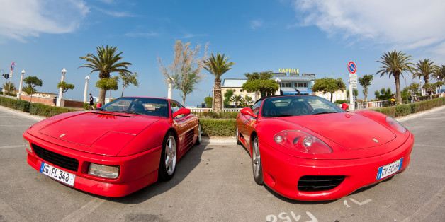 Giulianova, Italy - June 04, 2011: Ferrari supercars parked on the promenade of Giulianova, Italy, ready for the annual Ferrari meeting.