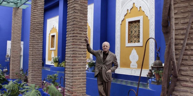 "Co-founder of Yves Saint Laurent (YSL) Couture House and YSL's lifelong partner Pierre Berge poses in the Majorelle garden in Marrakesh November 26, 2010. Pierre Berge was in Marrakesh to open the ""Yves Saint Laurent and Morocco"" exhibition, which presents the YSL creations that have been inspired by Morocco. The exhibition, which runs till March 18, 2011, is held in the Majorelle garden owned by the Yves Saint Laurent-Pierre Berge Foundation.   REUTERS/Jean Blondin (MOROCCO - Tags: FASHION SOCIETY)"
