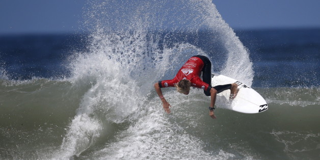 Gatien Delahaye competes in the man's final during the World Surf League's (WSL) Quiksilver Pro surfing competition at Casablanca Beach, also known as the Pepsi, in Morocco, September 12, 2015. REUTERS/Youssef Boudlal
