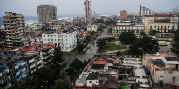 View of flooded streets in Havana during the passage of Hurricane Irma, on September 9, 2017. Irma's blast through the Cuban coastline weakened it to a Category Three, but it is still packing winds of 125 miles (200 kilometer) per hour. / AFP PHOTO / YAMIL LAGE        (Photo credit should read YAMIL LAGE/AFP/Getty Images)