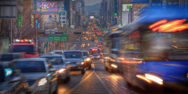 Rush hour at dusk, Seoul, South Korea.
