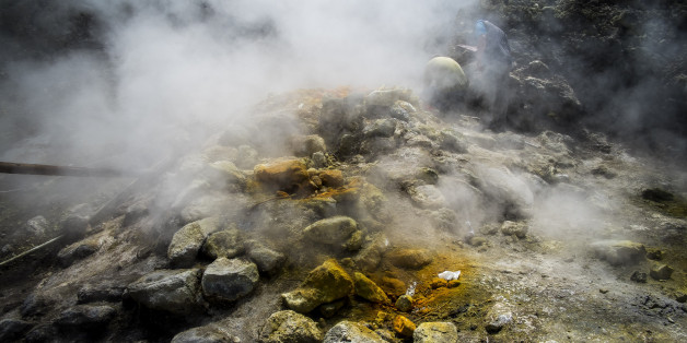 INGV (Italy's National Institute for Geophysics and Vulcanology) researchers make monthly measurements near the Bocca Grande in Pozzuoli, Italy on July 09, 2017. The Solfatara of Pozzuoli is one of the most interesting volcano of Campi Flegrei, an area north of Naples made up of about 40 ancient volcanoes.(Photo by Giuseppe Ciccia/NurPhoto via Getty Images)