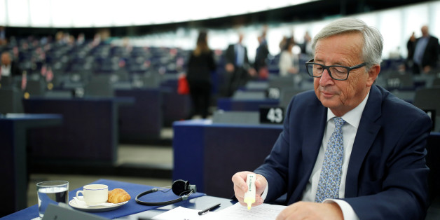European Commission President Jean-Claude Juncker checks notes before addressing the European Parliament during a debate on The State of the European Union in Strasbourg, France, September 13, 2017.  REUTERS/Christian Hartmann
