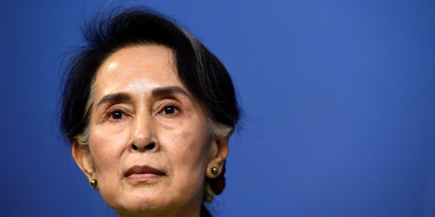 Myanmar's State Counsellor Aung San Suu Kyi speaks during a joint a press conference with Sweden's Prime minister at the Rosenbad government office on June 12, 2017 in Stockholm, Sweden. / AFP PHOTO / Jonathan NACKSTRAND        (Photo credit should read JONATHAN NACKSTRAND/AFP/Getty Images)