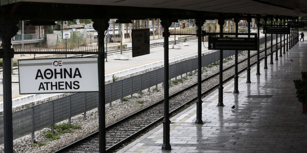 A man walks along an empty platform at a closed central train station during a 24-hour labour strike in Athens, Greece, on Wednesday, May 17, 2017. Greeces economy returned to recession in the first quarter as delays in concluding talks between the government and its creditors raised the specter of another debt drama. Photographer: Yorgos Karahalis/Bloomberg via Getty Images