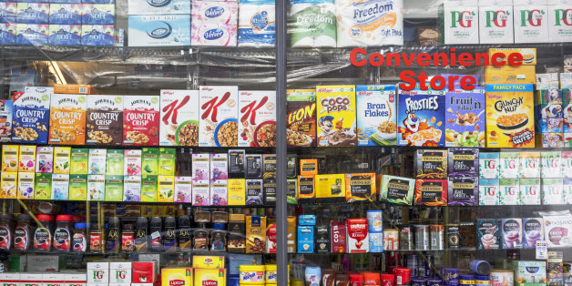 Window display showing the retail products being sold in a Kensington convenience store, on 31st August 2017, in London England. (Photo by Richard Baker / In Pictures via Getty Images)