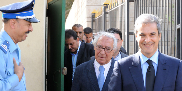 Prince Moulay Hicham (R) cousin of Morocco's King Mohammed VI , is accompanied by his lawyer Abderrahim Berrada (L) as they leave the court in Casablanca, on September 17, 2012, after the postponement of the trial for defamation against against an MP. AFP PHOTO/ABDELHAK SENNA (Photo credit should read ABDELHAK SENNA/AFP/GettyImages)