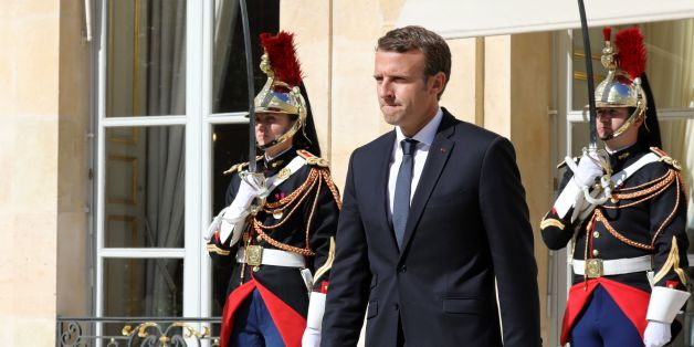 French President Emmanuel Macron waits prior to welcome Qatar's Emir upon his arrival at the Elysee palace for a meeting on September 15, 2017, in Paris. / AFP PHOTO / ludovic MARIN        (Photo credit should read LUDOVIC MARIN/AFP/Getty Images)