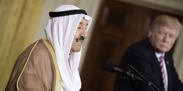 Kuwaiti Emir Sheikh Sabah al-Ahmad Al-Sabah speaks during a joint press conference with US President Donald Trump at the White House in Washington, DC, on September 7 2017. / AFP PHOTO / Brendan SMIALOWSKI        (Photo credit should read BRENDAN SMIALOWSKI/AFP/Getty Images)
