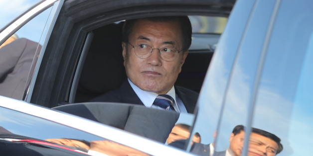 VLADIVOSTOK, RUSSIA - SEPTEMBER 6, 2017: South Korea's President Moon Jae-in in a car ahead of attending the Far East Street exhibition as part of the Eastern Economic Forum at Far Eastern Federal University on Russky Island. Mikhail Klimentyev/Russian Presidential Press and Information Office/TASS (Photo by Mikhail Klimentyev\TASS via Getty Images)