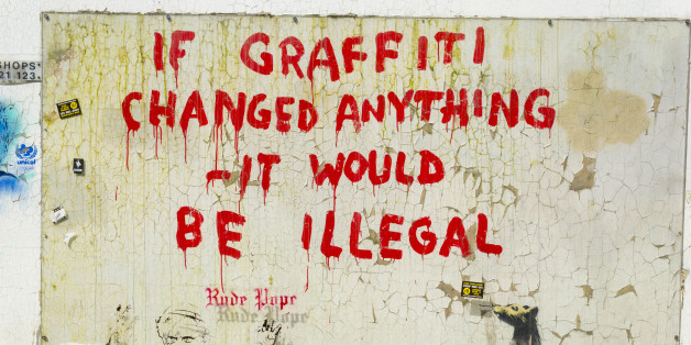 Banksy's Graffiti in Clipstone Street, Camden, London, United Kingdom
