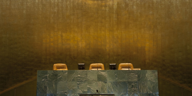 Speakers seats under Emblem of the United Nations in the General Assembly, United Nations Building, New York City, New York