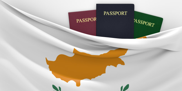 Cyprus flag and three passports in different colors, representing freedom of travel to and from the country.