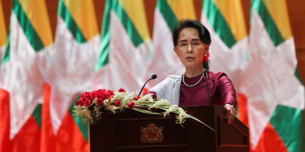 Myanmar's State Counsellor Aung San Suu Kyi delivers a national address in Naypyidaw on September 19, 2017.Aung San Suu Kyi said on September 19 she 'feels deeply' for the suffering of 'all people' caught up in conflict scorching through Rakhine state, her first comments on a crisis that also mentioned Muslims displaced by violence. / AFP PHOTO / Ye Aung THU        (Photo credit should read YE AUNG THU/AFP/Getty Images)