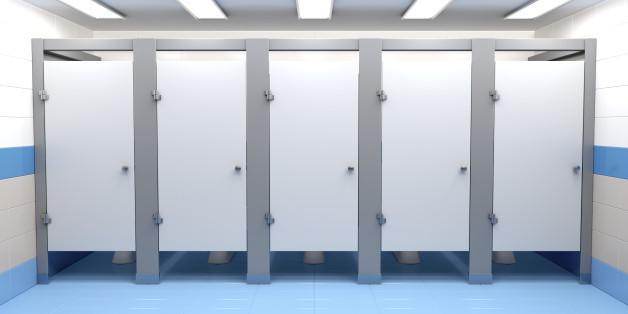 Public toilet cubicles, front view