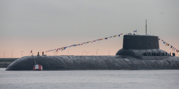 Russian Navy's TK-208 Dmitry Donskoy nuclear submarine is prepared for the Navy Day parade in Kronshtadt of the suburb of St. Petersburg. (Photo by Igor Russak/NurPhoto via Getty Images)